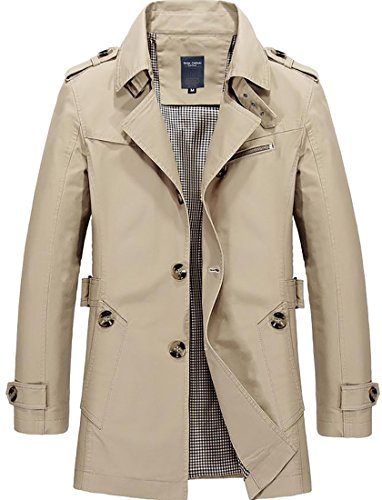 Cruiize Mens Classic Slim Single Breasted Trench Coat with Belt Khaki M