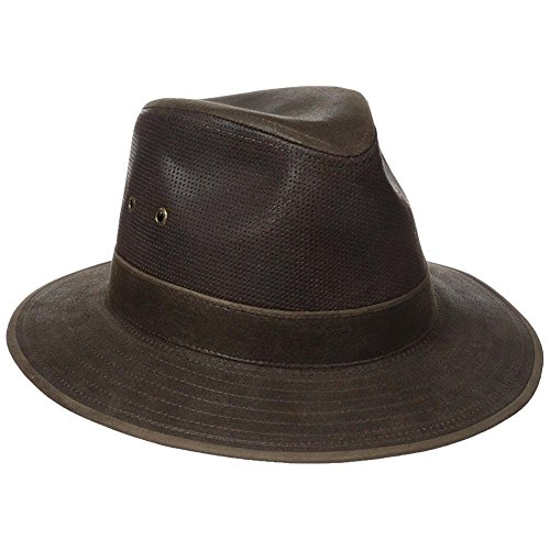 Stetson Men's Weathered Leather Safari Hat, Brown, (Leather Safari Hat)