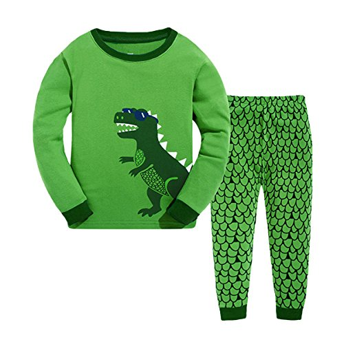 Tkala Boys Pajamas Children Clothes Set Dinosaur 100% Cotton Little Kids Pjs Sleepwear,3T,1-green