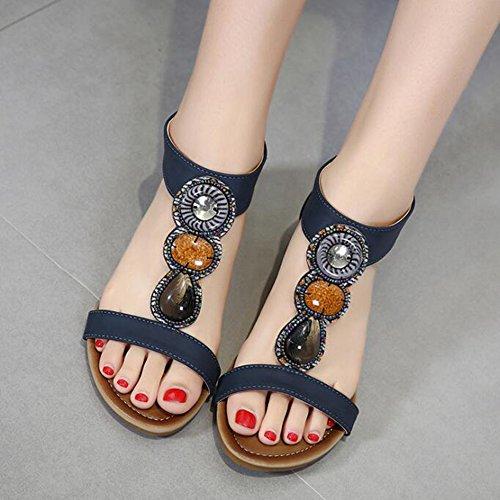 Hibote Women Sandals Plat Mid Heel Peep Toe Ladies T-Strap Bohemia Roman Beach Strappy Sandals Navy fR3NM5eFc