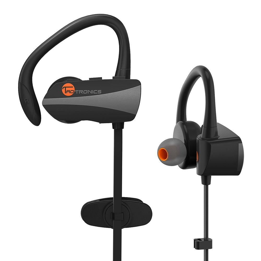 Bluetooth Earbuds, TaoTronics Wireless Sweatproof Sports Headphones (Bluetooth 4.1, Secure Ear Hooks Design with Cable Clips, 7 Hours Play Time)