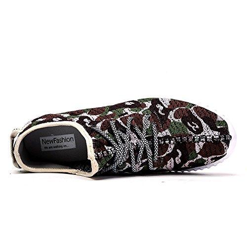 Do.BOMRVII Männer beiläufige Tarnung Sneaker Lace-Up Flyknit Trainer Canvas Sport-flache Schuhe Green