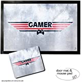 Set: 1 Door Mat Floor Mat (24x16 inches) + 1 Mouse Pad (9x7 inches) - Gaming, Gamer
