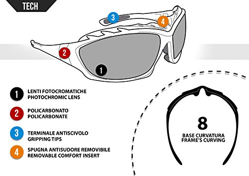 Bertoni Motorcycle Goggles Padded Sunglasses - Photochromic Antifog Lens - Removable Clip for Prescription Lenses - Interchangeable Arms and Strap - by Bertoni Italy F366A Motorbike Bikers Glasses by Bertoni (Image #3)