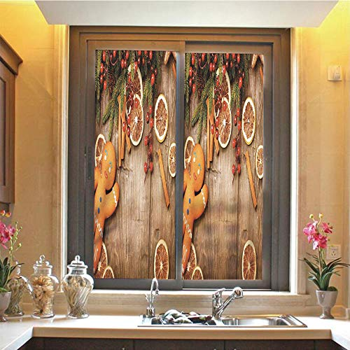 (Gingerbread Man 3D No Glue Static Decorative Privacy Window Films, Rustic Composition with Holly Berry Orange Slice Cinnamon and Biscuit Decorative,17.7