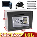 16L Electronic Digital Safe Box for Home Office Hotel Security Steel with 2 Keys 2 Locking Bolts Wall or Floor Mounted 35x25x25CM Grey, 2 Year Warranty