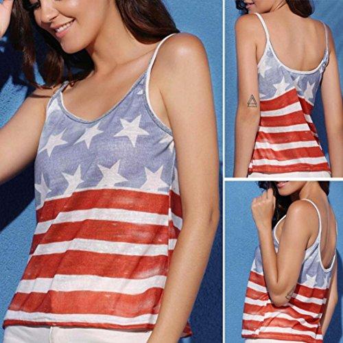 Rond Elegant Shirt Rouge Col Gilet Chemisier Sexyville Et Impression Dbardeur Femmes Camisole T Mode Drapeau EpWU684q7U