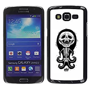 GOODTHINGS Funda Imagen Diseño Carcasa Tapa Trasera Negro Cover Skin Case para Samsung Galaxy Grand 2 SM-G7102 SM-G7105 - pulpo blanco negro divertido esqueleto cráneo