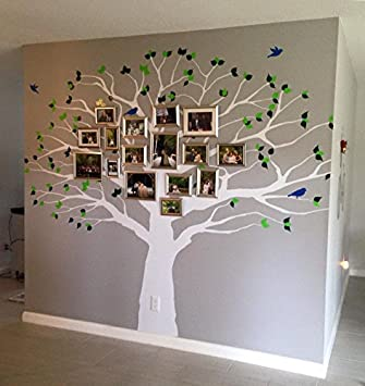 Beau Family Tree Wall Decal Oak Branches Large Nursery Picture Decal With Leaves  And Birds #1233