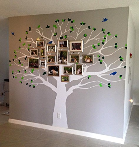"Family Tree Wall Decal Oak Branches Large Nursery Picture Decal with Leaves and Birds #1233 (84"" High x 94"" Wide, Custom - Contact Us)"