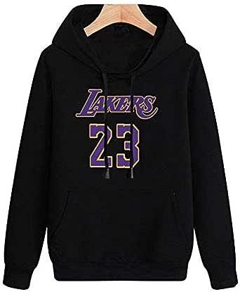 Bkckzzz Sudadera con Capucha de la NBA para Parejas de Arte Impreso en 3D LA Lakers James # 23 Spring Camiseta de Manga Larga para Hombre con Capucha Versión Suelta Sudadera cómoda