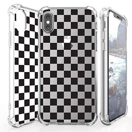 Checker Racer White - iPhone X Case, DuroCase AquaFlex Shockproof TPU Bumper w/Hard Back Shield Hybrid Case Clear for iPhone X - (Black White Checker)