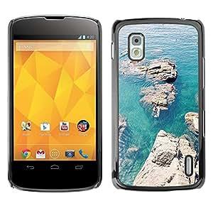 Caucho caso de Shell duro de la cubierta de accesorios de protección BY RAYDREAMMM - LG Google Nexus 4 E960 - Rocks Canoe Blue Sea Ocean