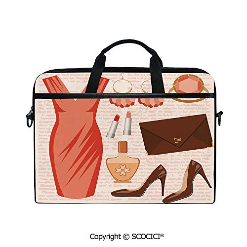 Printed Waterproof Laptop Shoulder Messenger Bag Case Accessories Fashion Cocktail Dress Lipstick Earrings High Heels Decorative for 15 Inch Laptop - Ring Cocktail Oversize
