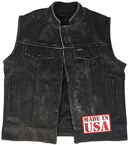 Outlaw Vest - Legendary USA Men's Reckless Outlaw Motorcycle Vest with Concealed Carry -Black-50