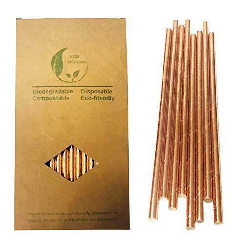 (Glittering Rose Gold Solid Paper Drinking Straws, Plain Rose Gold Bachelorette Party)