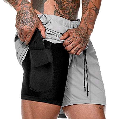 INNOLV Running Workout Shorts Men Athletic Gym Sports 2 in 1 Shorts with Elastic Waistband-Inner Pocket-Rear Zipper Pocket