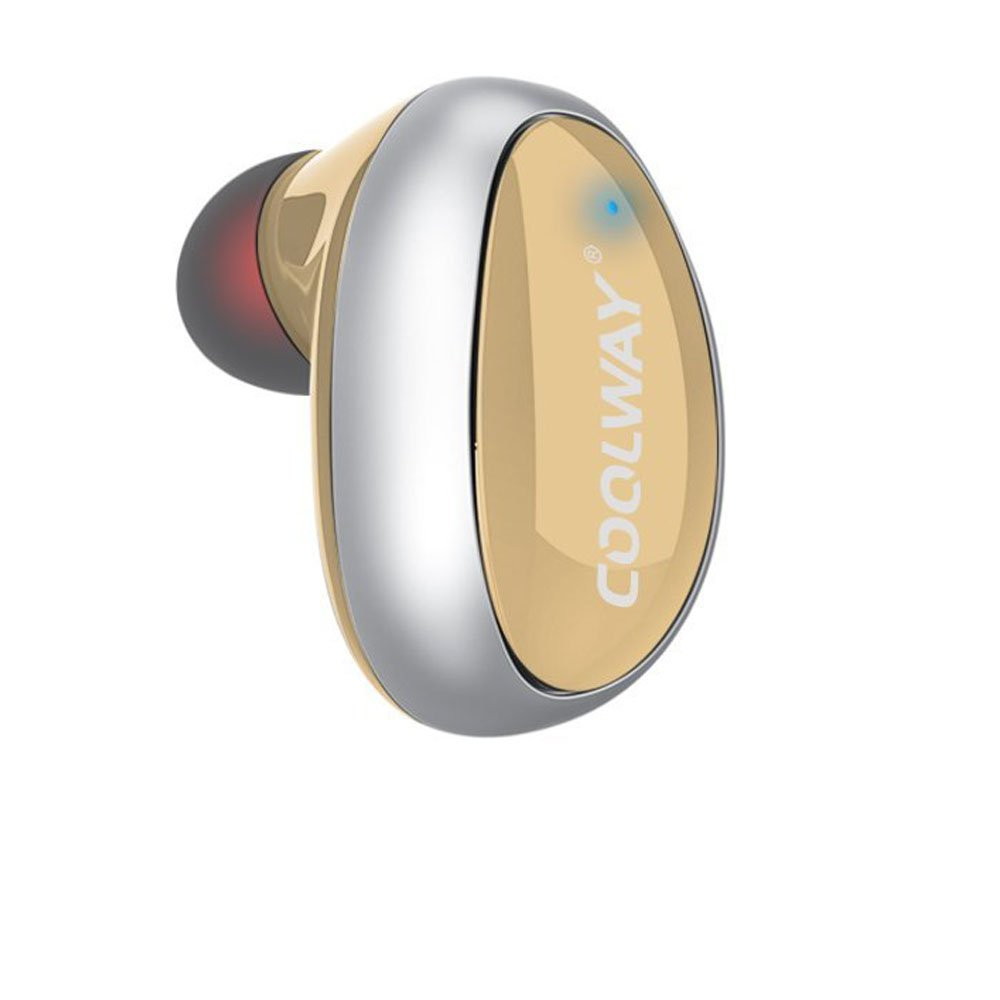 Mini Bluetooth Earbud Smallest Wireless Invisible Headphone with 4 Hour Playtime Car Headset with Mic for iPhone and Android Smart Phones(One Pcs)(Gold)
