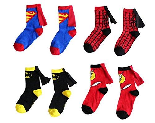 Kids Socks Cartoon Superman Spiderman Batman The Flash Design Children Cotton Socks Unisex Boys Girls (4-6 years old, Superhero (Girl Flash Superhero)