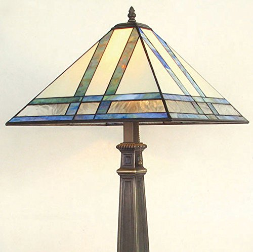 J Devlin Lam 370 TB Large Mission Stained Glass Table Lamp Multi Colored Opal Accent (Amber Accent Lamp Table)