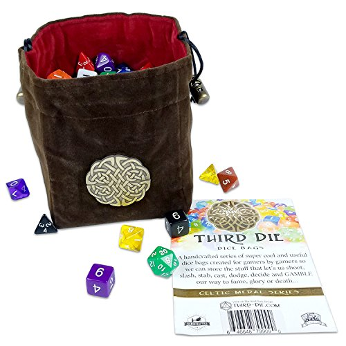 Third Die Dice Bag - Celtic Medal Series - Handcrafted, Reversible Drawstring Dice Bag That Stands Open On The Table and Closes Tight - Complex Knot Medallion - Rich Brown and Blood Red