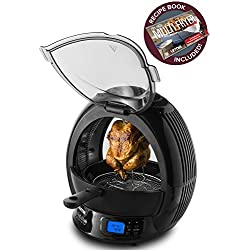 Gourmia GMF2600 - 9 In 1 Air Fryer & Multicooker, Halogen Powered Vertical Rotisserie Oven Stir Fry & Grill, LED Display, Multiple Cooking Functions, Includes Bonus Accessories & Free Recipe Book