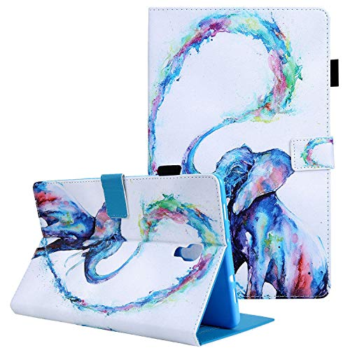 Galaxy Tab A 10.5 2018 (SM-T590/T595/T597) Case, Coopts Synthetic Leather Full Body Protection Pencil Holder Multi-Angle Stand Card Slots for Samsung Galaxy Tab A 10.5 2018 Release,03-Painted Elephant