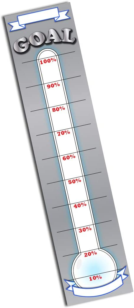 Goal Setting Fundraising Donation Thermometer - 11x48 - Dry Erase Reusable Paper Poster - Fundraiser Milestone Company Goals Chart - Office Wall Temperature Posters Charts (Grey)