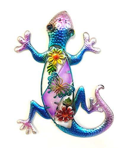 Bejeweled Display® Purple Gecko w/ Glass Wall Art Plaque & Home Decor - Gecko Wall Decor
