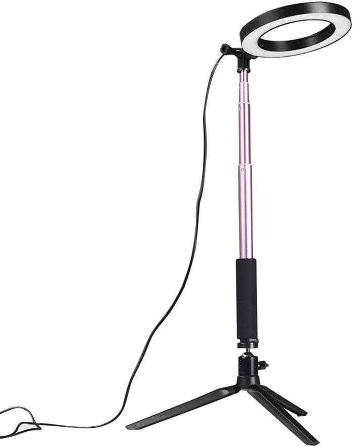Lixada DC5V 5W 64 LED Light Round Selfie Camera Lamp with Telescopic Tripod 200MM Diameter Width USB Powered Operated 10 Levels Adjustable Brightness Dimmable for Live Show Taking Pictures