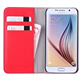 WOFALA Samsung Galaxy S6 Case,Multi function card slot/Pocket Money Slot with PU Leather Wallet Flip Cover Case for Samsung Galaxy S6-Red