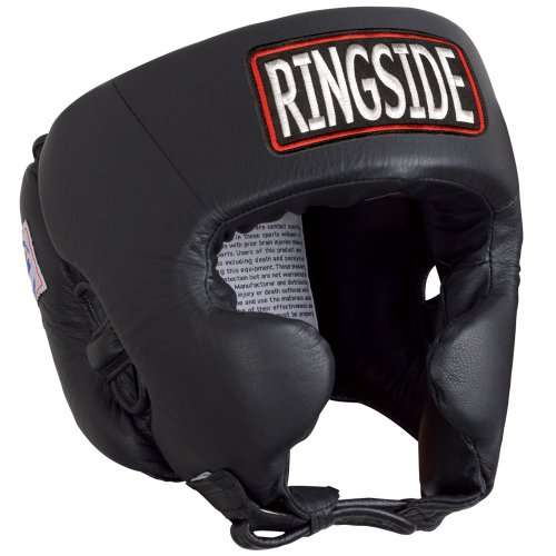 Ringside Competition Boxing Muay Thai MMA Sparring Head Protection Headgear with Cheeks, Black, Medium