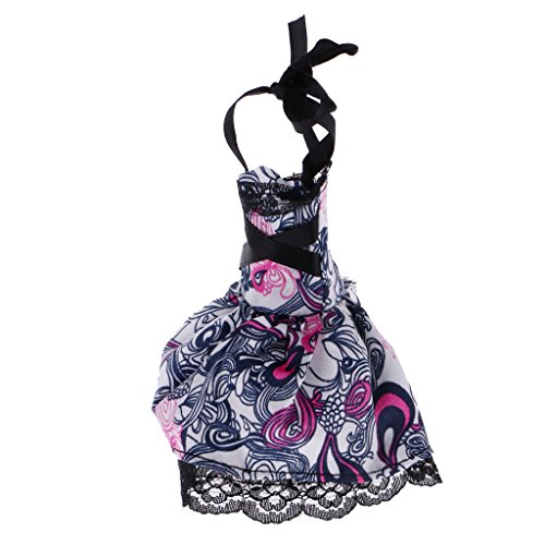 Dress Monster High (Jili Online Trendy Colorful Printed Lace up Dress Party Clothes Outfit for Monster High Dolls)