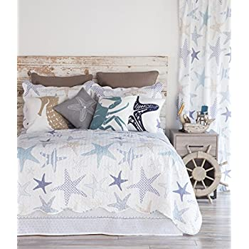 North End Decor Starfish Reef Coastal Quilt, Twin 2-Piece Bedding Sets, 68