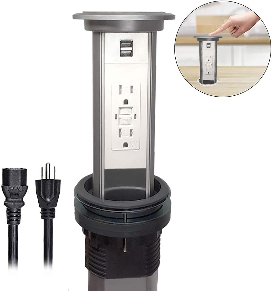 Groto Intelligent Electric Pop Up Socket Surge UL certification GFCI protector 15 Amp Receptacles, Retractable Power Strip, Round Countertop, with USB Charging, Kitchen Island, Conference - Silver