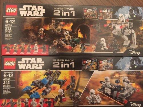 Lego - Star Wars Lego Super Pack # 66556 - 2 paquetes en 1 (# 75167 Bounty Hunter Speeder Bike Battle Pack y # 75166 First Order Transport Speeder Battle Pack)
