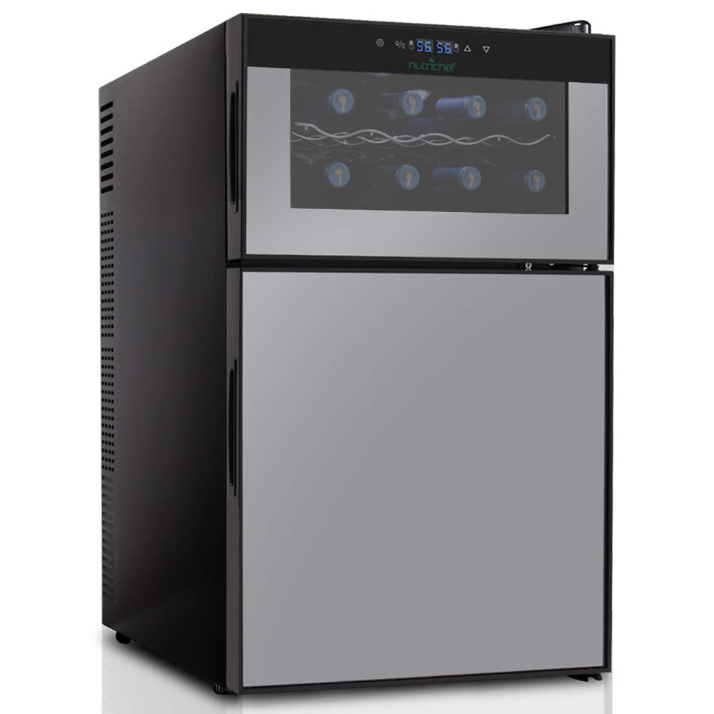 NutriChef PKTEWBC240 Wine Cooler and Mini Fridge - Two Door 8 Bottle Chiller Cellar Top-16 Can Beverage Refrigerator, Digital Touch Screen by Nutrichef