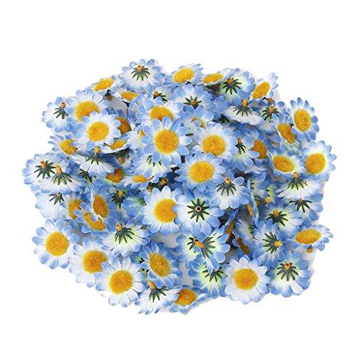 Femitu 100x Artificial Gerbera Daisy Flowers Heads for DIY Wedding Party (Blue)