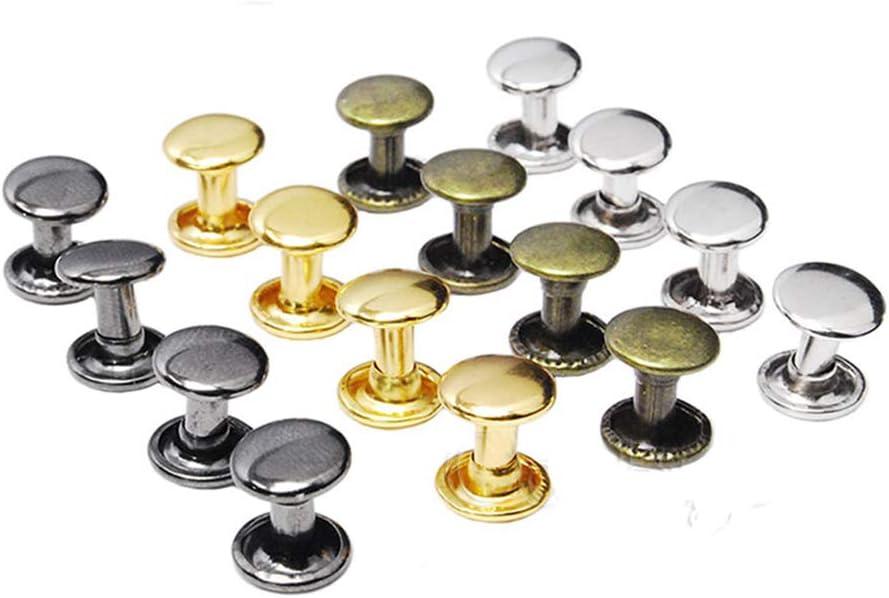 Messing Nagel Leder Handwerk Kleidung Nieten Runde Kopf Schrauben Doppelkappe Schraube DUHUANG 50 St/ück 6//8 mm Kleider//Tasche//Schuhe 6X6mm Gold