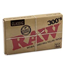 RAW 300's Natural Unrefined Classic 1 1/4 (1.25) size Rolling paper - 300 pack