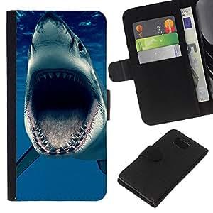 """Be-Star la tarjeta de CršŠdito Slots PU Funda de cuero Monedero caso cubierta de piel Para Samsung ALPHA G850 ( Jaws OcšŠano Shark Blue Sea Predator"""" )"""