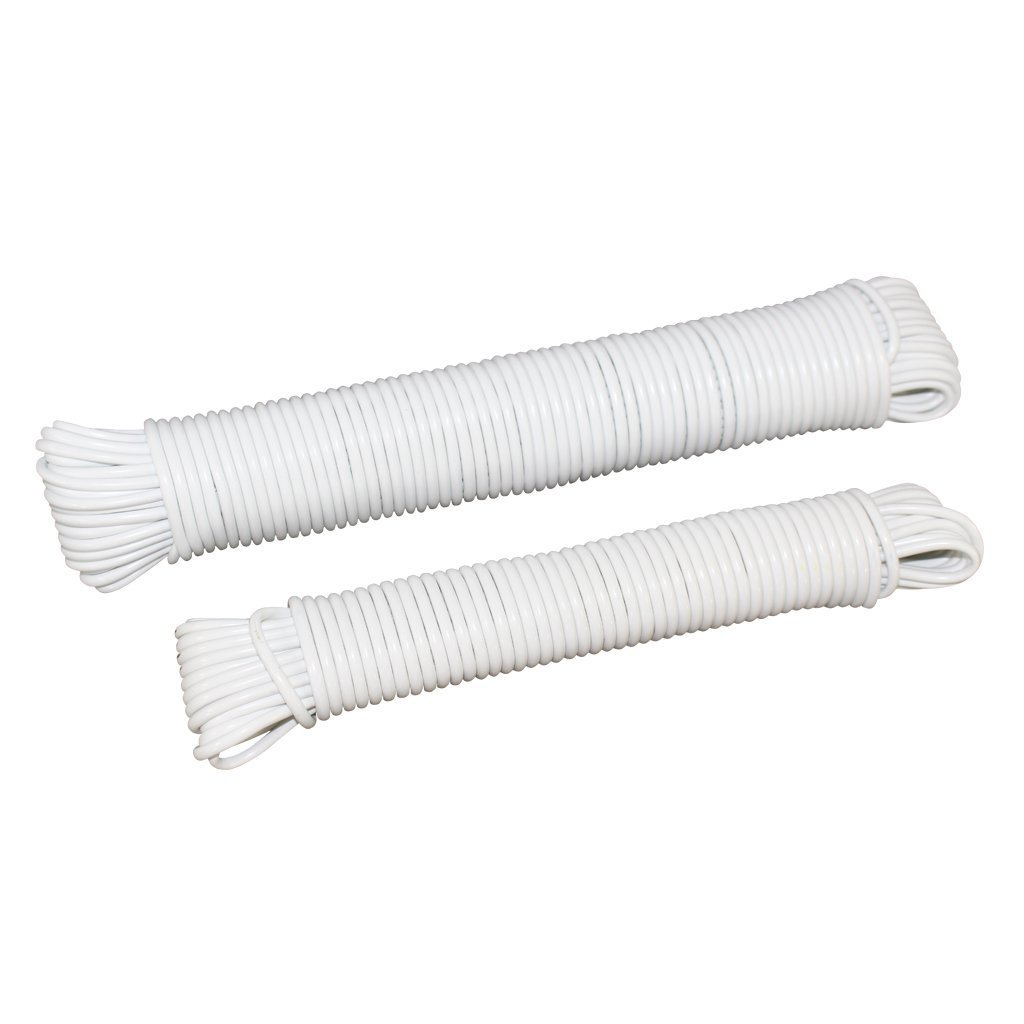 Art Projects Plastic Coated Clothes Line Fiber Reinforced Line - SGT KNOTS 100 feet 5//32 inch Crafting Outside Clothesline All Purpose Laundry Line Dryer Rope for Outdoor Indoor