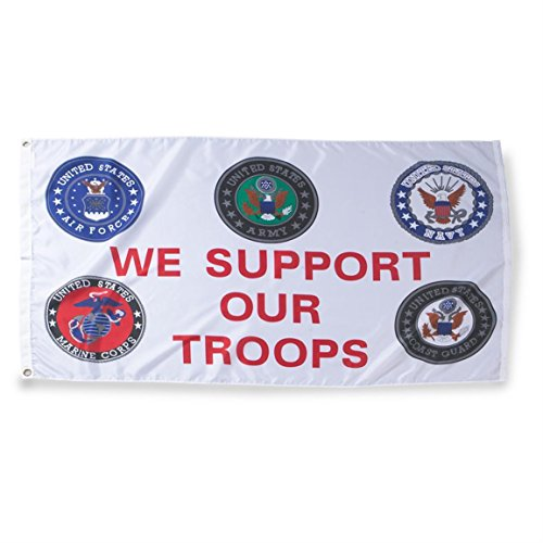 ALBATROS We Support Our Troops Flag 3 x 5 ft All 5 Services USMC USAF USN US Army USCG for Home and Parades, Official Party, All Weather Indoors Outdoors ()