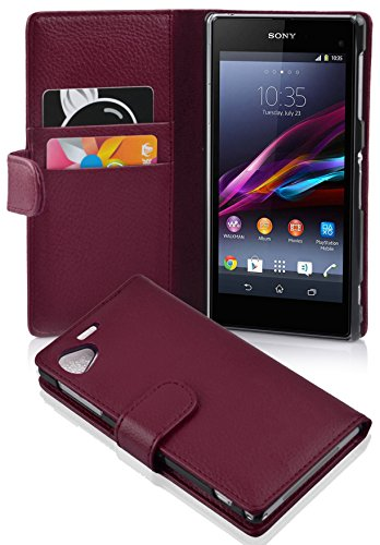 Cadorabo Case Works with Sony Xperia Z1 Compact in Pastel Purple (Design Book Structure) - with 2 Card Slots - Wallet Case Etui Cover Pouch PU Leather Flip