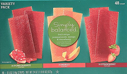 Simply Balanced Fruit Strips, Strawberry, Mango & Pomegranate Variety Pack, 48ct, 0.5 Strips