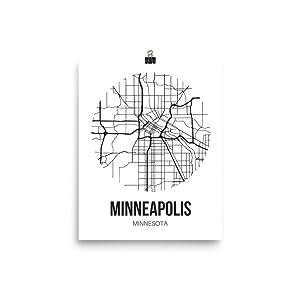 Minneapolis Map Wall Art Print, Unframed Minneapolis Poster City Map Wall Decor, Minnesota Street Map Office Art
