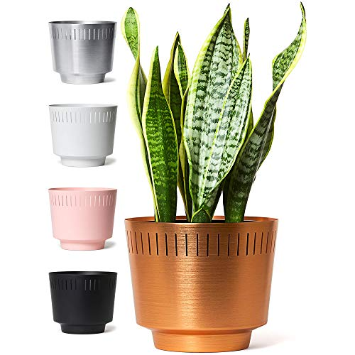 MODN LOVR Mid Century Modern Planter Pot Indoor with Drainage - Large 8.5 Inch Round Stylish Leak Proof Aluminum Houseplant Pots for Home or Office, Succulent and Cactus Holder, Anodized Copper