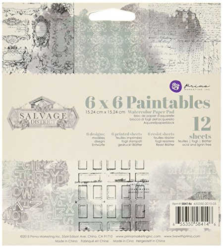 prima-marketing-584146-salvage-district-paintable-watercolor-paper-pad-12-pack-6-by-6-multicolor