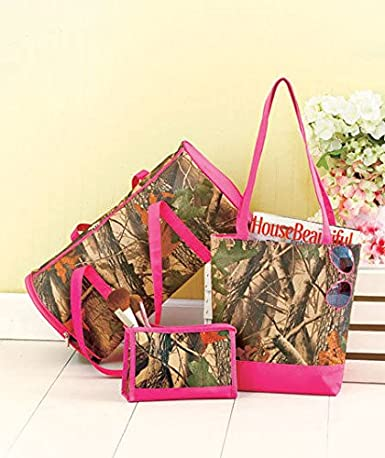 "3 PIECE PINK CAMOUFLAGE TRAVEL COLLECTION 13-1/4""W x 4""D x 12-1/2""H with a 13"" strap drop 9""W x 2-5/8""D x 6""H TOTE BAG MAKE-UP COSMETIC 18-1/2""W x 8""D x 9""H with an 11"" strap drop DUFFEL GYM BAG"