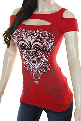 Fleur Wing - Bling Womens Plus Size Rhinestone Cross or Fleur De Lis Wings Cold Shoulder New Top (3X Large, Red Red)